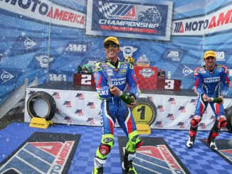 Toni Elias (#24) and Josh Herrin (#2) celebrate their first and third place podium wins on Sunday