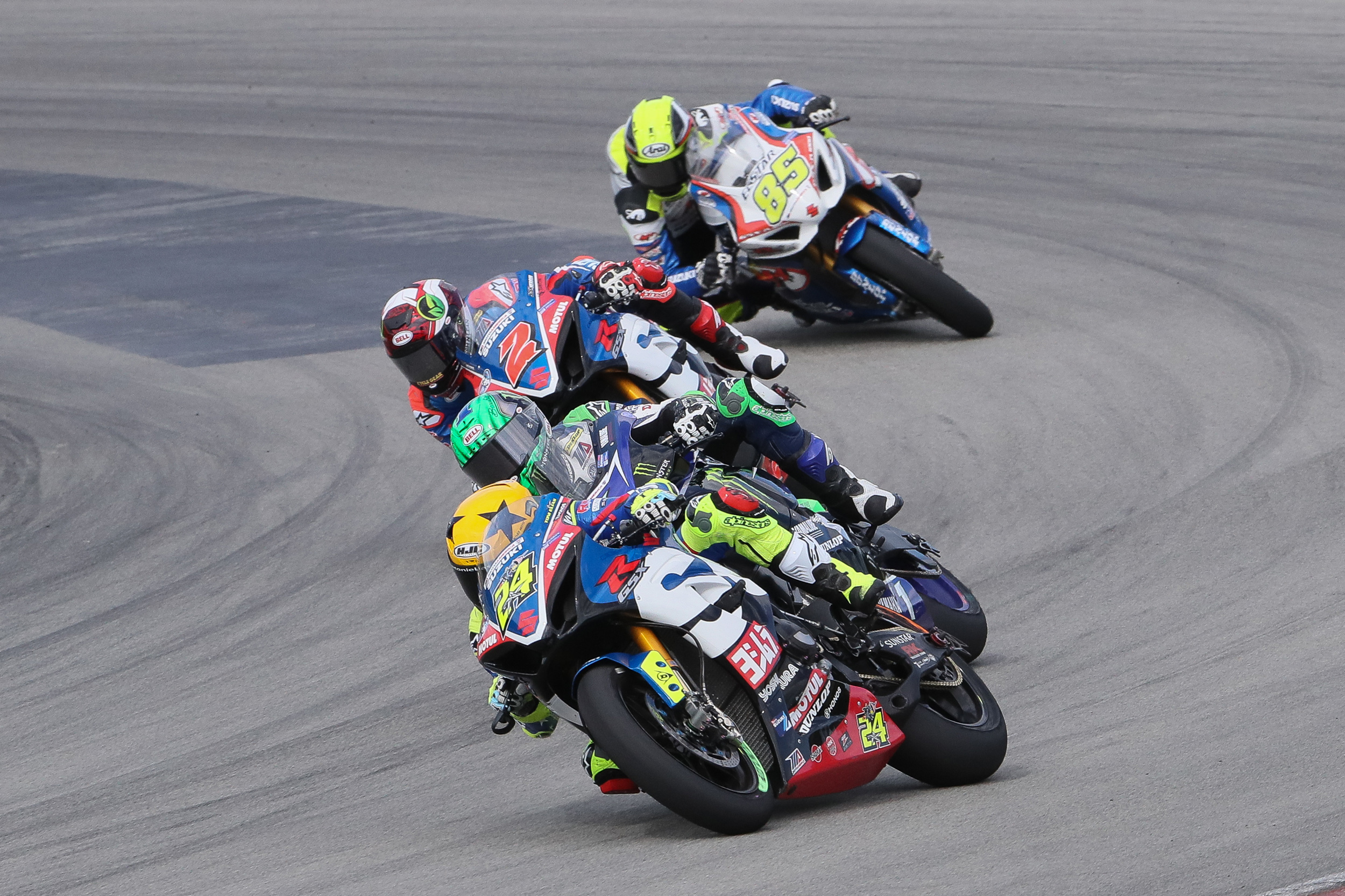 Toni Elias (#24) led the pack on Sunday with teammate Josh Herrin (#2) not too far behind