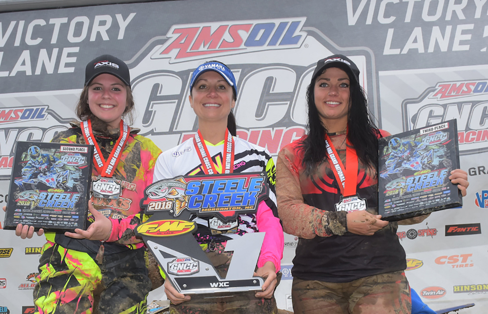11-time GNCC WXC Champion Traci Pickens (center) and WXC Katelyn Osburn (right) race on GBC Ground Buster III and XC-Master tires - GBC Motorsports