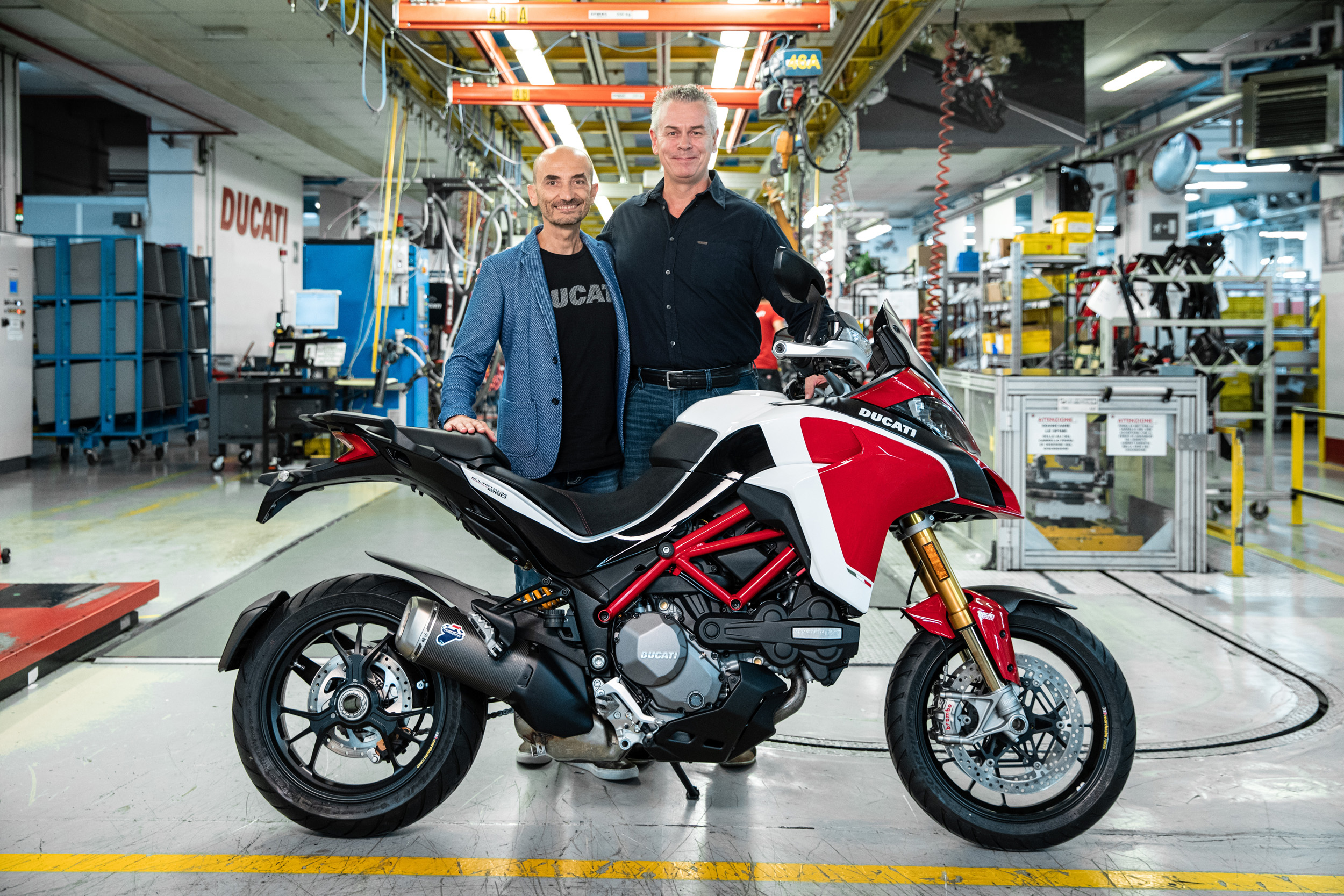 190917 Claudio Domenicali (CEO Ducati) handing over the 100,000th Multistrada to Dave Hayward
