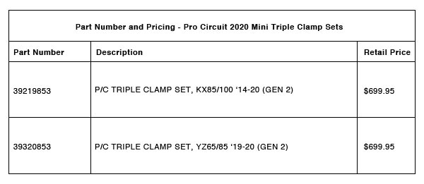 190921 Pro Circuit 2020 YZ and KX Mini Triple Clamp Sets - Part-Number-Pricing-R-2