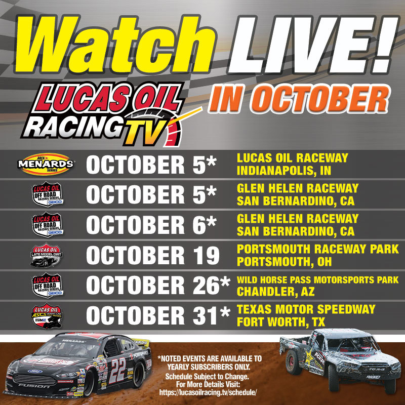 191003 Lucas Oil Racing TV Features LIVE Racing Action From ARCA Menards and ASCS as October Broadcast Schedule is Released [1]