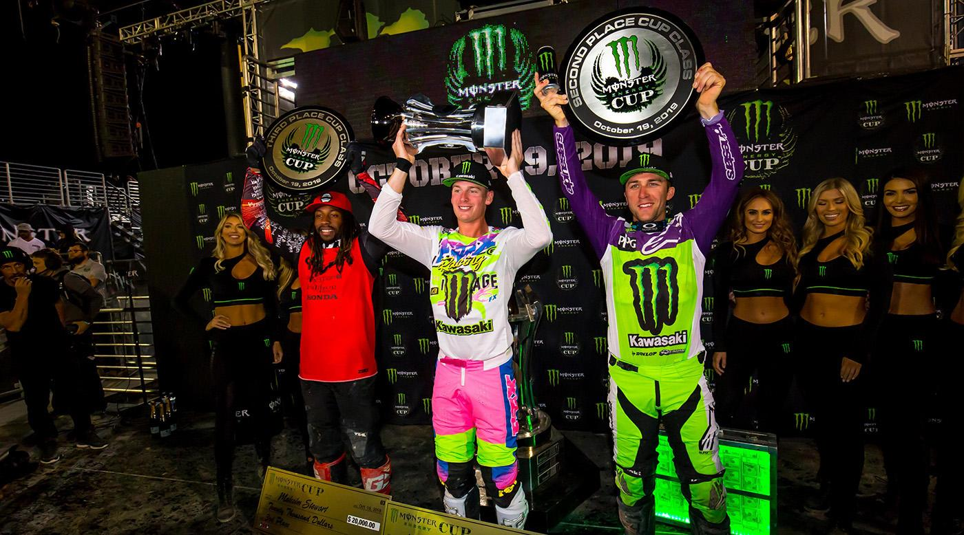 191020 2019 Monster Energy Cup overall podium (l to r)- Malcolm Stewart, Adam Cianciarulo, and Eli Tomac.