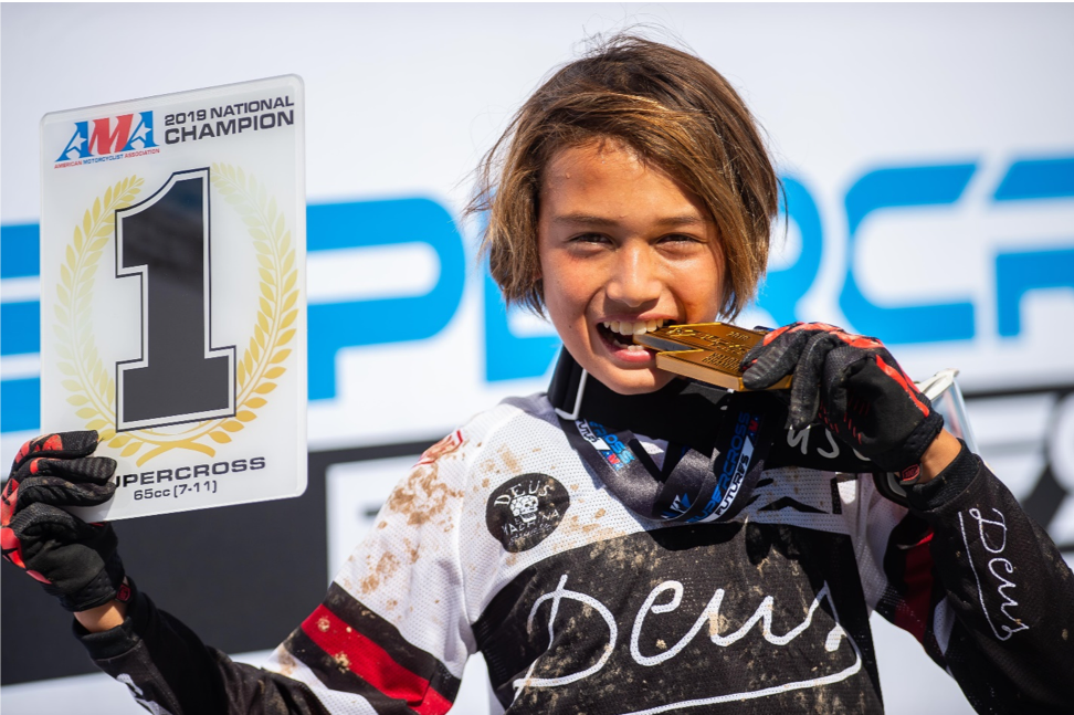 191024 Kelana Humphrey's experiencing the sweet taste of victory at the Supercross Futures AMA National Championship