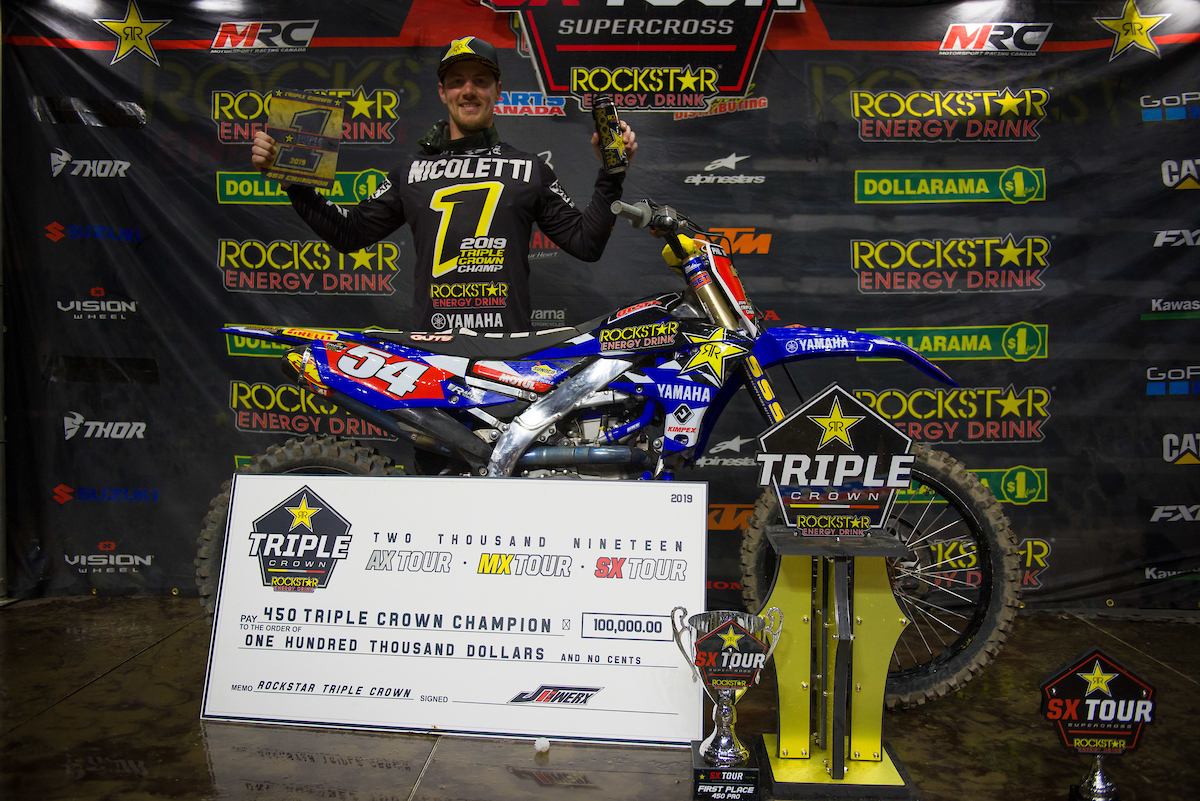 Pirelli Tire and Phil Nicoletti Capture 2019 Rockstar Energy Triple Crown Championship . |  PHOTOS: JAMES LISSIMORE