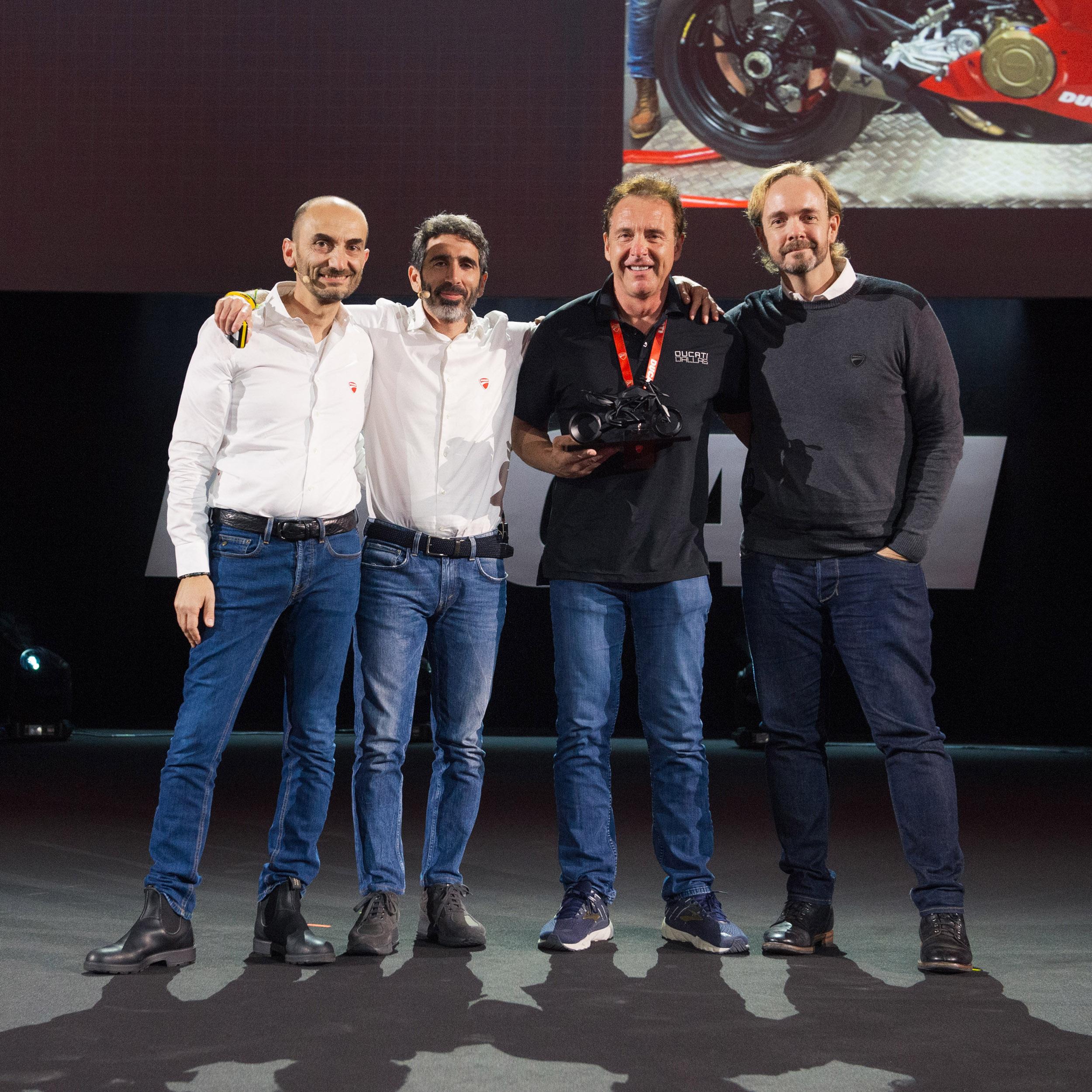 C. Domenicali, F. Milicia (VP Global Sales & After Sales DMH), J. Nash (Ducati Dallas President), J. Chinnock