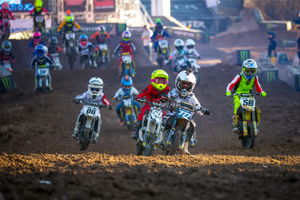 Cobra rider Matthew Cruz (777) leading the pack in Moto 2 of the 51cc Limited (6-8) Class