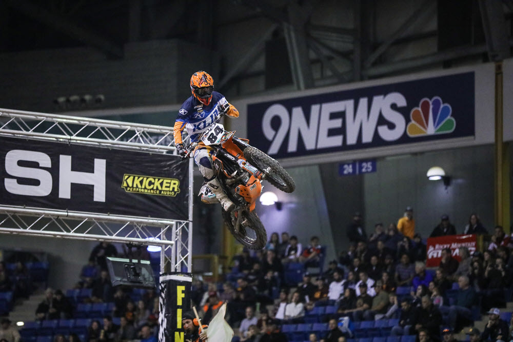 Denver Endurocross - RPM KTM's Trystan Hart had a great night in Denver, taking the final moto win and third overall. Photo- Jack Jaxon.