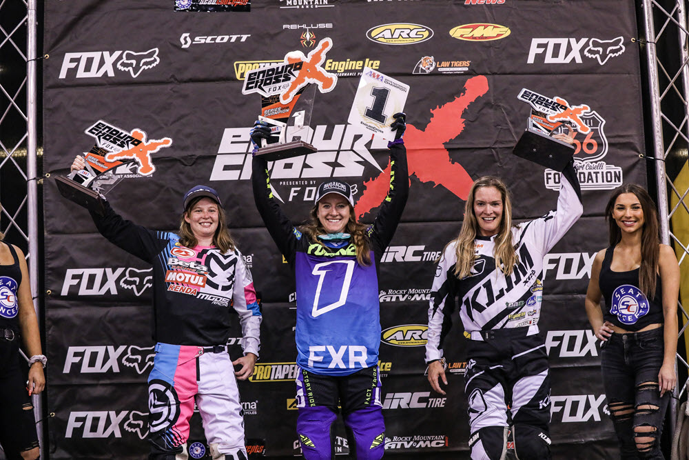 Shelby Turner (center), Rachael Gutish (left) and Maria Hahn finished first, second and third in the 2019 Women's class championship. Beta's Morgan Tanke finished second in Boise. Photo- Jack Jaxon