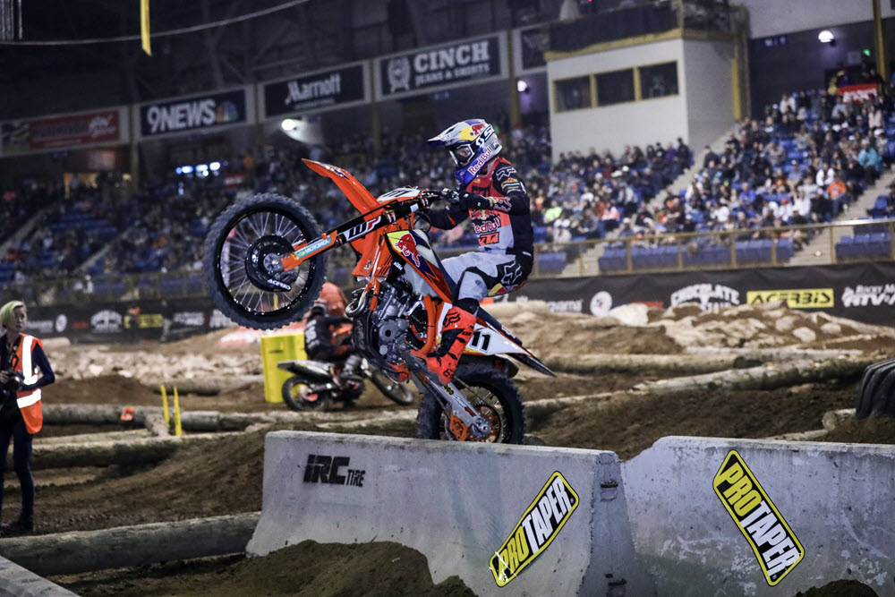 Denver Endurcross - Taddy Blazusiak rode his KTM to the win in Denver with 1-1-2 moto finishes. He closed to within two points of Haaker with just one round remaining next week in Boise, Idaho. Photo- Jack Jaxon