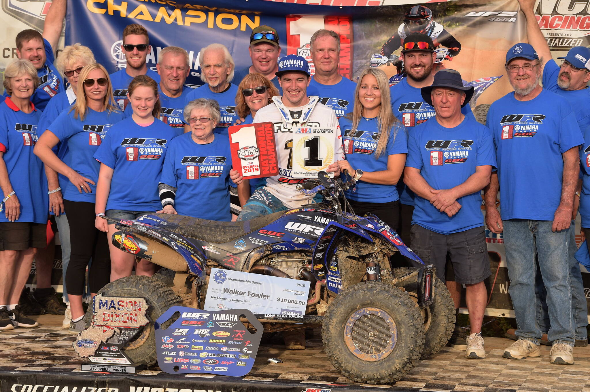 Reigning GNCC XC1 Pro ATV champion, Walker Fowler earned his fifth-straight title and the $10,000 bLU cRU championship bonus in his WFR / GBC / Fly Racing-backed Yamaha YFZ450R, earning a 79-point lead with nine first place finishes