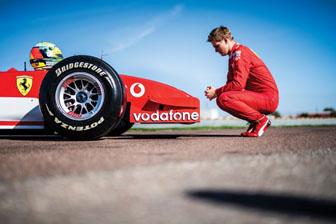 191114 Mick Schumacher admires the Ferrari F2002 (Rémi Dargegen © 2019 Courtesy of RM Sotheby's) [3]