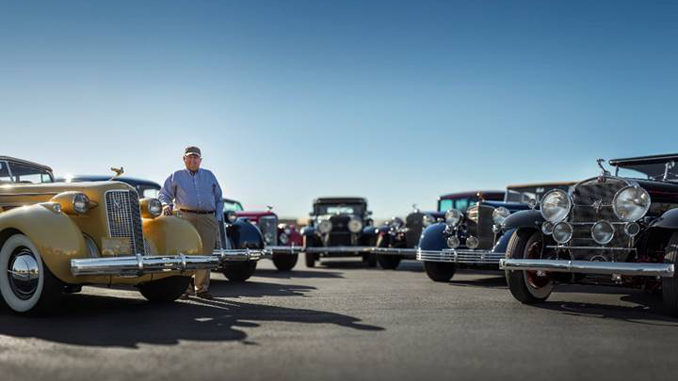 John D. Groendyke stands with the seven Cadillac V-16s variants offered from his Collection at RM Sotheby's Arizona 2020 sale [678]