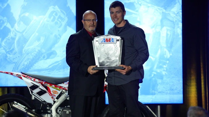 191209 2019 AMA Athlete of the Year from AMA National Championship Series Pat Smage receiving his award (Credit- Jeff Kardas) [678]