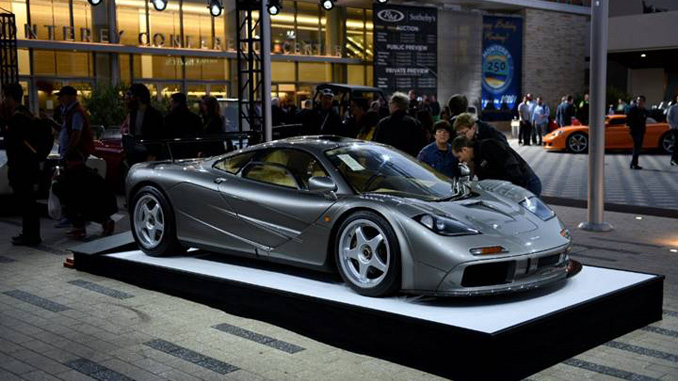 """191216 The 1994 McLaren F1 """"LM-Specification"""" the top collector car auction sale of 2019 pictured at RM Sotheby's 2019 Monterey auction (Darin Schnabel © 2019 Courtesy of RM Sotheby's) [678]"""