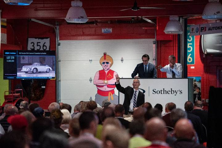 191216 The packed sale room at RM Sotheby's presentation of the Taj Ma Garaj Collection (Corey Escobar © 2019 Courtesy of RM Sotheby's).