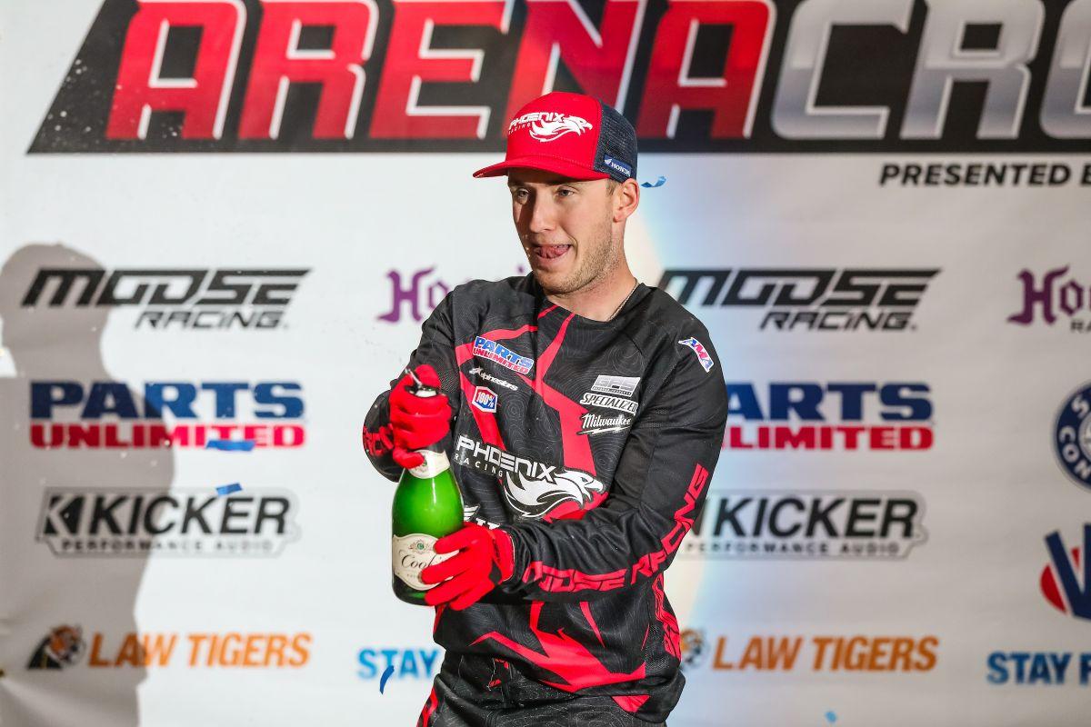 Phoenix Racing Honda Team Rider, Kyle Peters, celebrating after a successful Kicker Arenacross weekend in Loveland, Colorado. (Photo: Jack Jaxson)