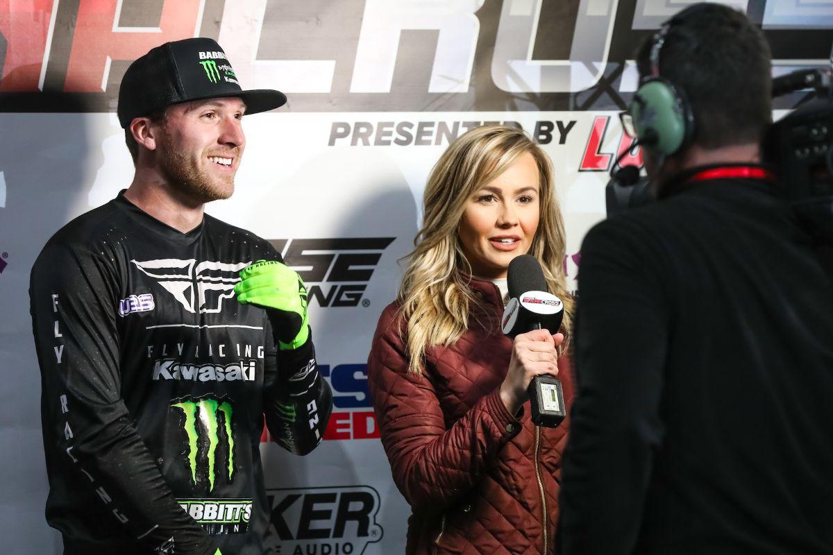 Team Babbitt's Rider, Kyle Bitterman, being interviewed by FS2's Kristen Beat. (Photo: Jack Jaxson)