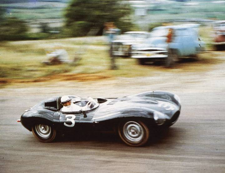 200111 D-Type XKD 520 at the Bathurst 100 in 1956, where it placed third and was the fastest sports car (Courtesy of the owner)