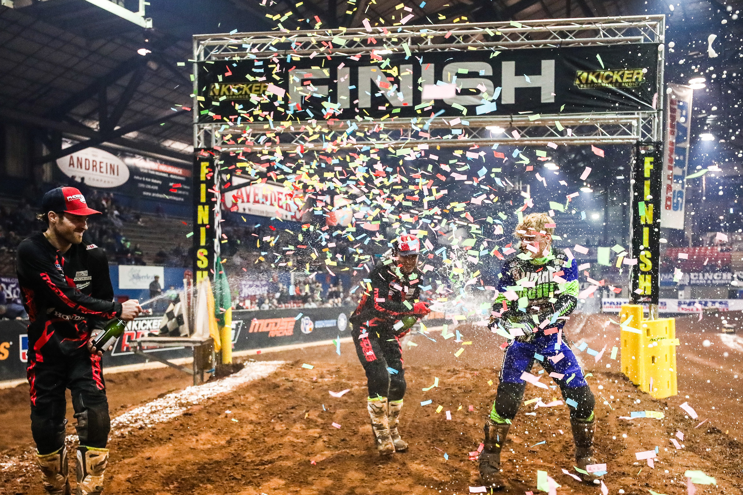 From the left, Jace Owen, Kyle Peters, and Dustin Winter celebrate making the podium in the 450 Pro Main in Round 5. (Photo- Jack Jaxson)
