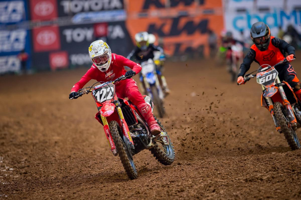 Honda rider Carson Mumford leads from the gate drop to take the win in the 250 Futures Class. Photo- Feld Entertainment, Inc