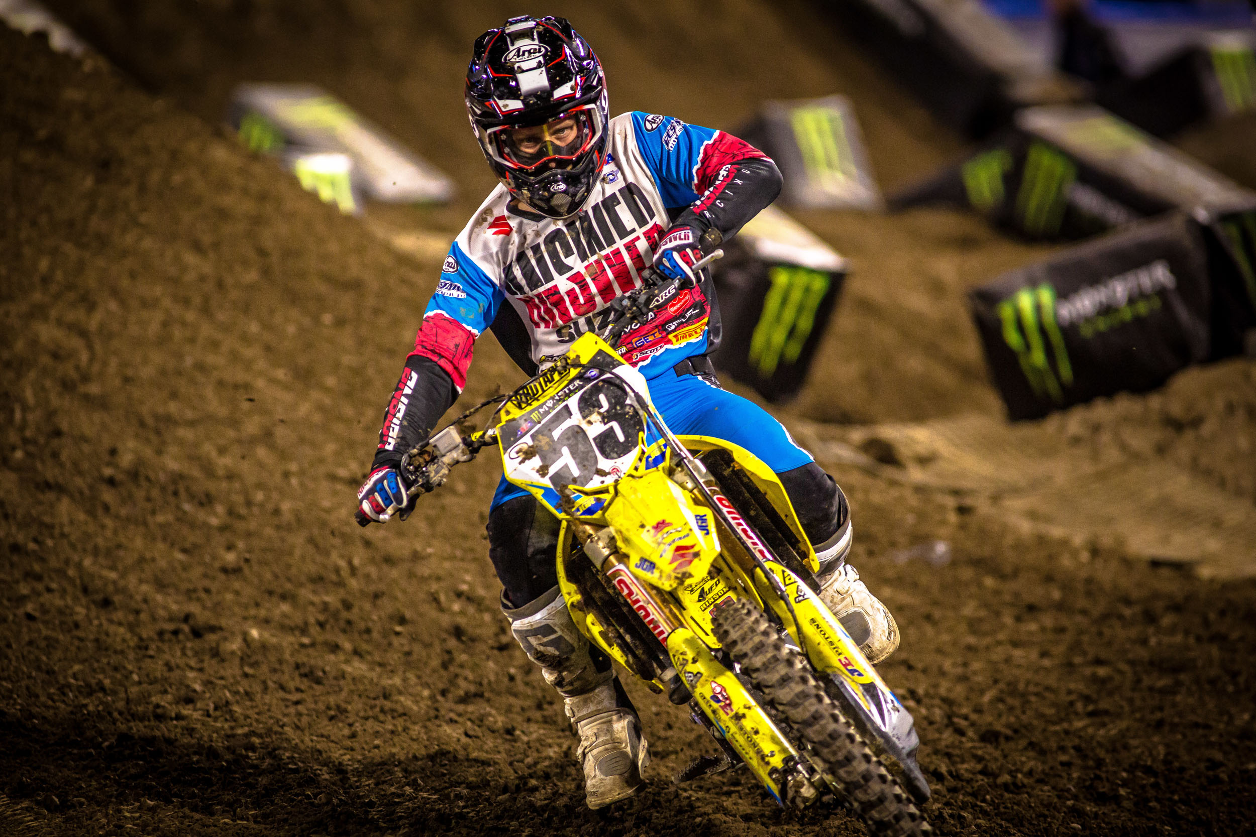Jimmy Decotis (#53) gives his RM-Z450 a final go in Anaheim before transiting to the 250 class