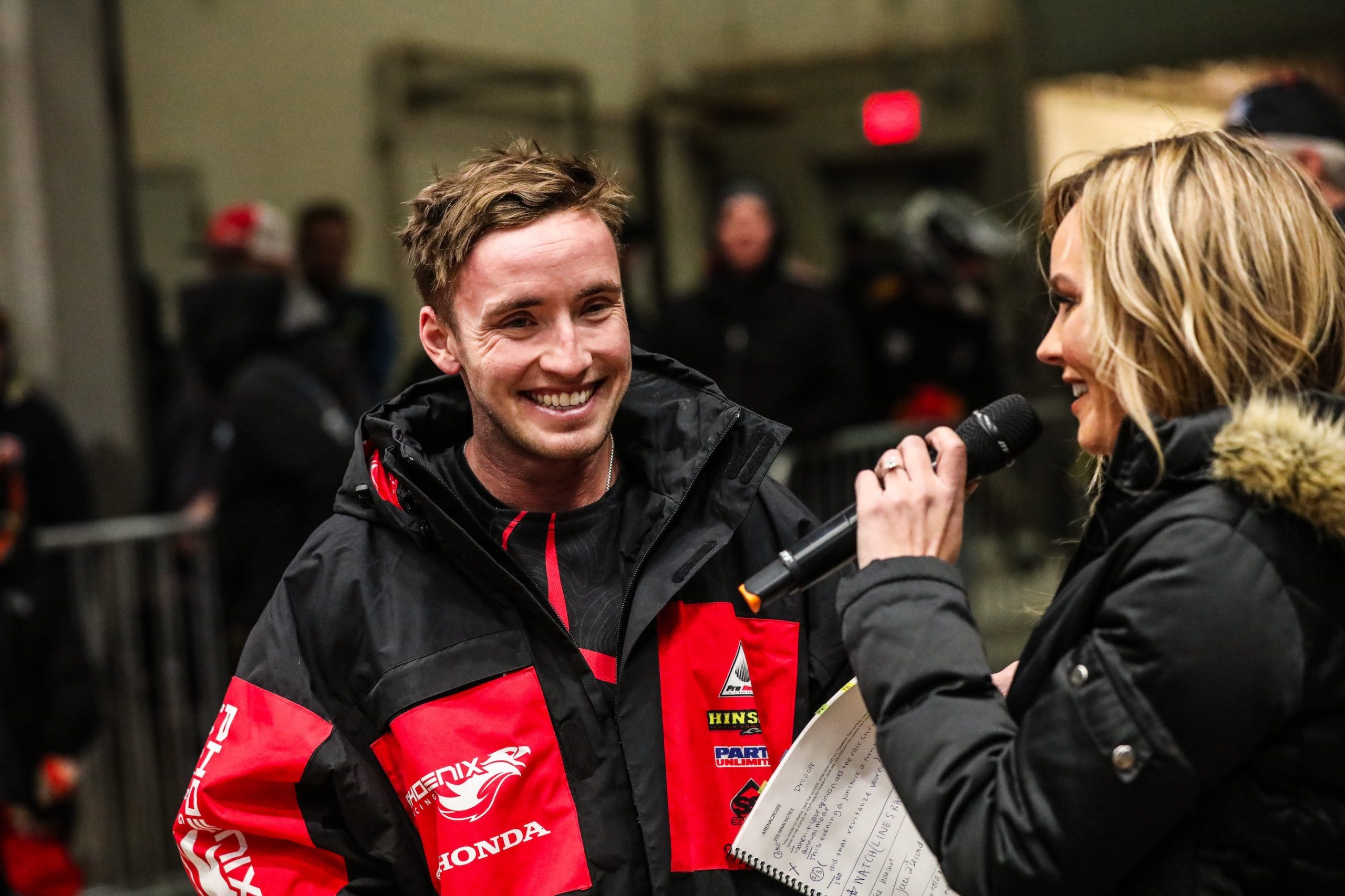 Kyle Peters (left) is all smiles after his win in 450 Pro Sport main as he talks with Fox Sport's Kristen Beat (right). (Photo- Jack Jaxson)