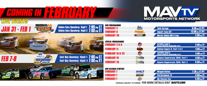 200203 LIVE Lucas Oil Late Model Dirt Racing Featured on MAVTV February Broadcast Announcement