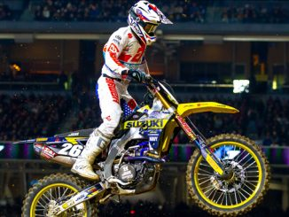 Alex Martin (#26) soars through Petco Park on his military-inspired Suzuki RM-Z250 [678]