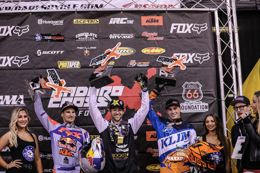 EnduroCross - Colton Haaker (center), Taddy Blazusiak (left) and Trystan Hart