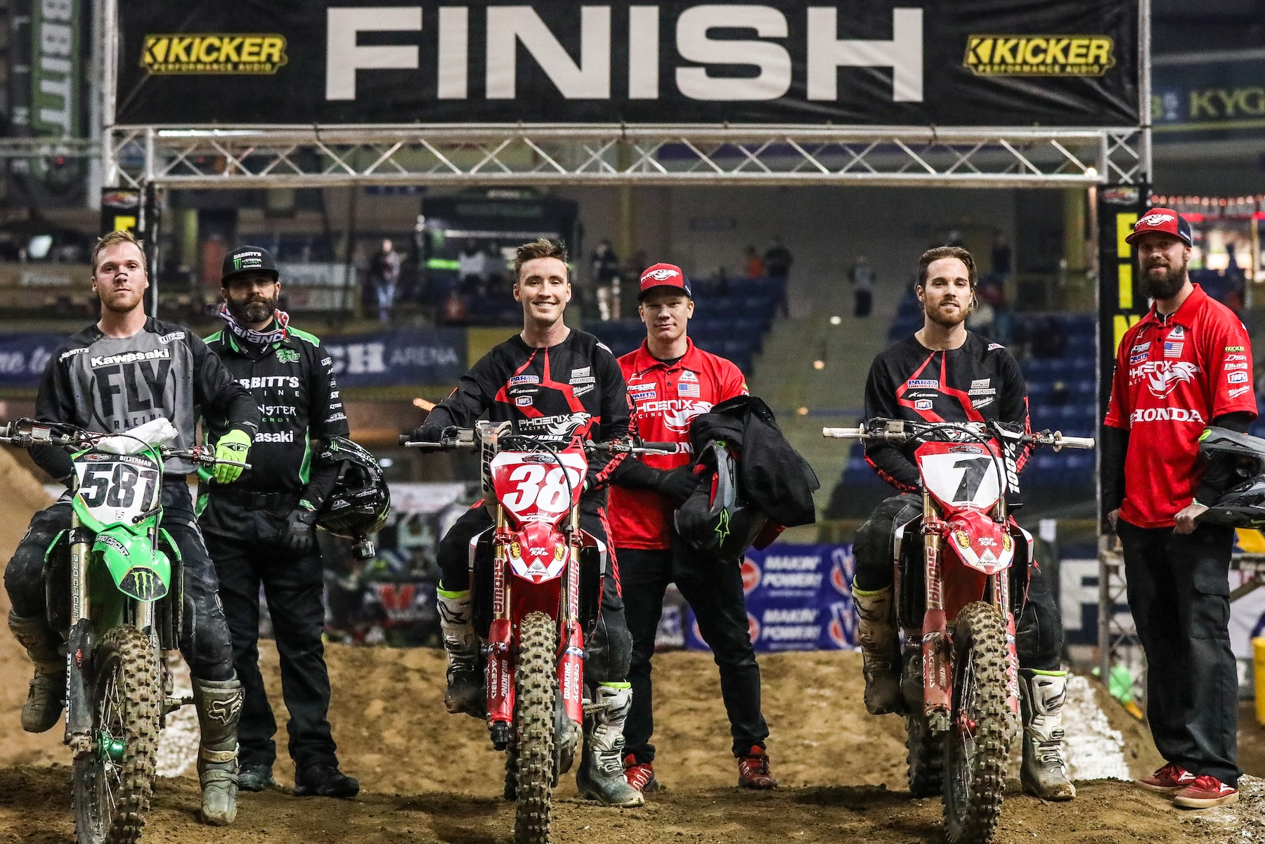 From the left, Kyle Bitterman, Kyle Peters, and Jace Owen after the 450 Pro Main event on Friday. (Photo- Jack Jaxson) [3]