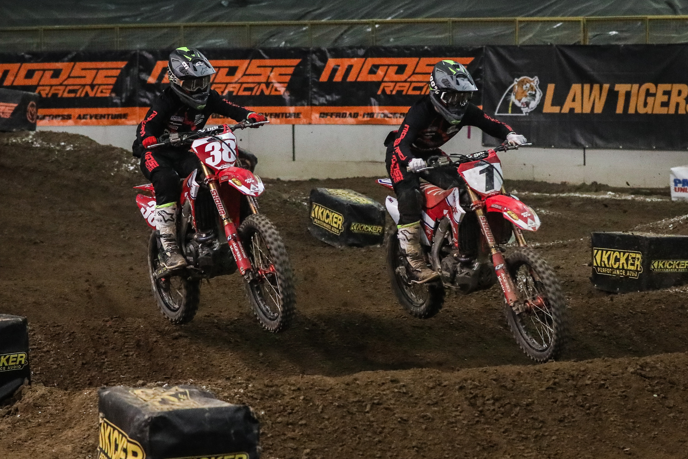Phoenix Racing Honda Team Riders, Kyle Peters (left) and Jace Owen (right) during the 450 Pro Main on Friday night in Denver, Colorado. (Photo- Jack Jaxson) [2]