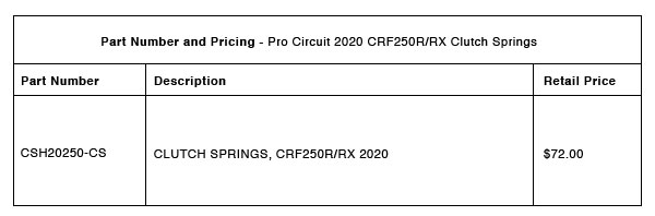 200305 Pro Circuit 2020 CRF250R:RX Clutch Springs Part-Number-Pricing-R-1