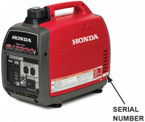 200318 Recalled Honda EB2200i portable generator - Location of Serial Number- (all models)