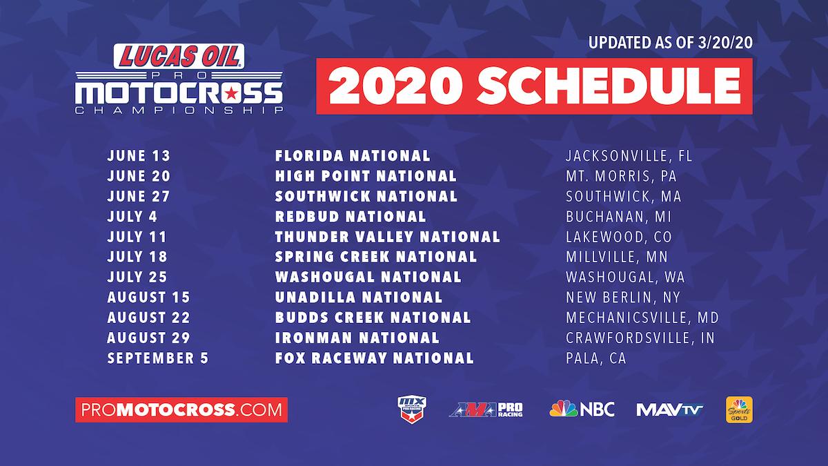 200320 Lucas Oil Pro Motocross 2020 Schedule