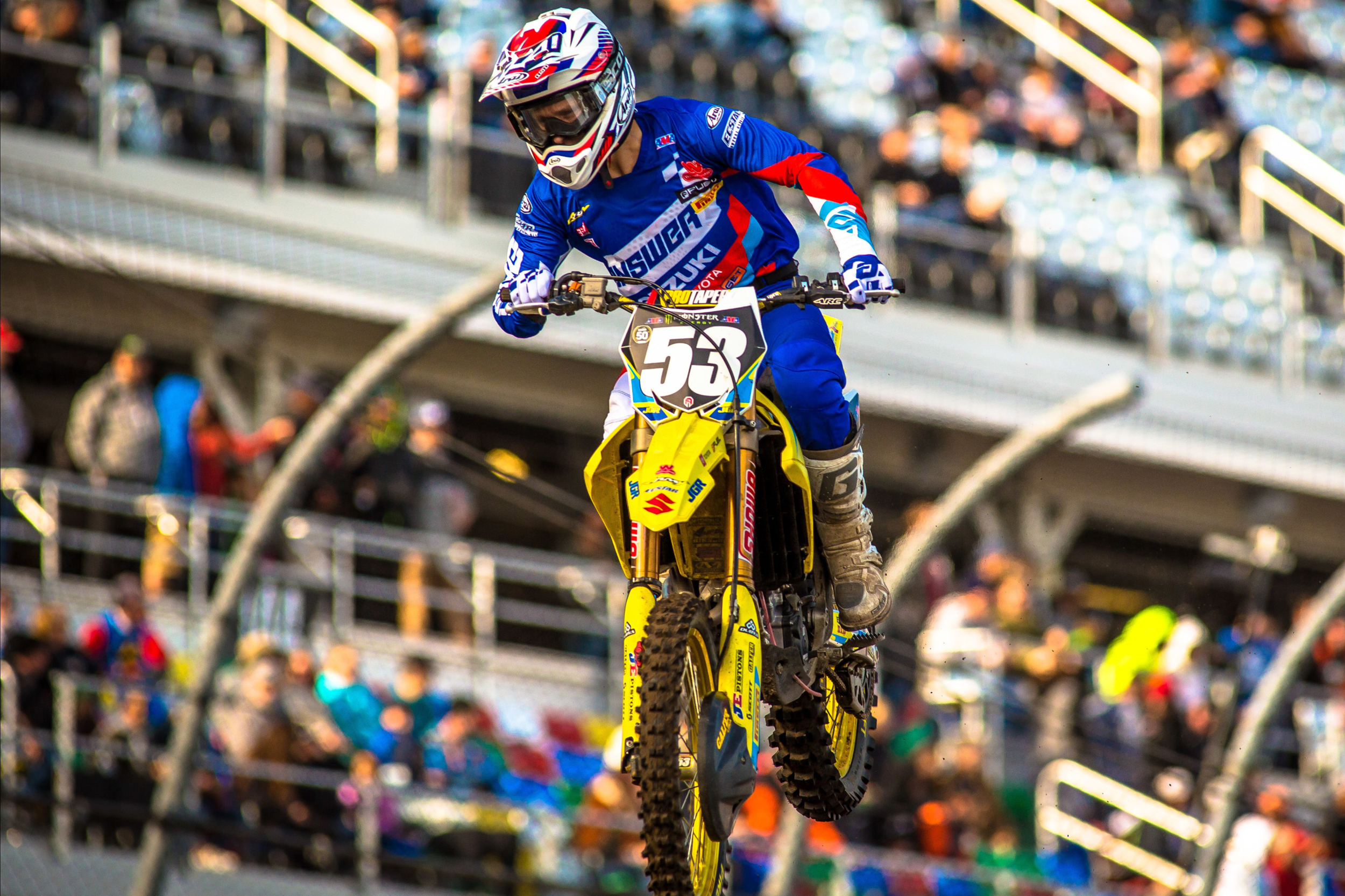 Jimmy Decotis (#53) showed solid pace in qualifying on his Suzuki RM-Z250
