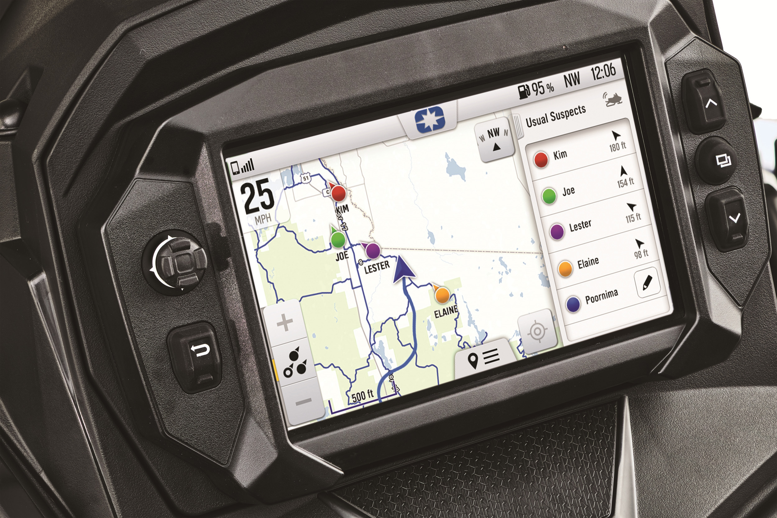 The new 7S Display is equipped with exclusive Polaris Ride Command Technologys