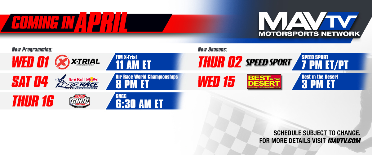 200402 Variety of New Programming and Season Premieres Featured on MAVTV This April