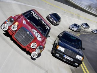AMG 300 SEL 6.8 (W 109). Authentic replica of the 1971 racing tourer, together with other high-performance vehicles from Mercedes-AMG history.
