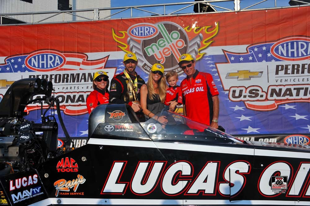 Morgan Lucas wins the 2015 U.S. Nationals at Lucas Oil Raceway in Indianapolis, Indiana.