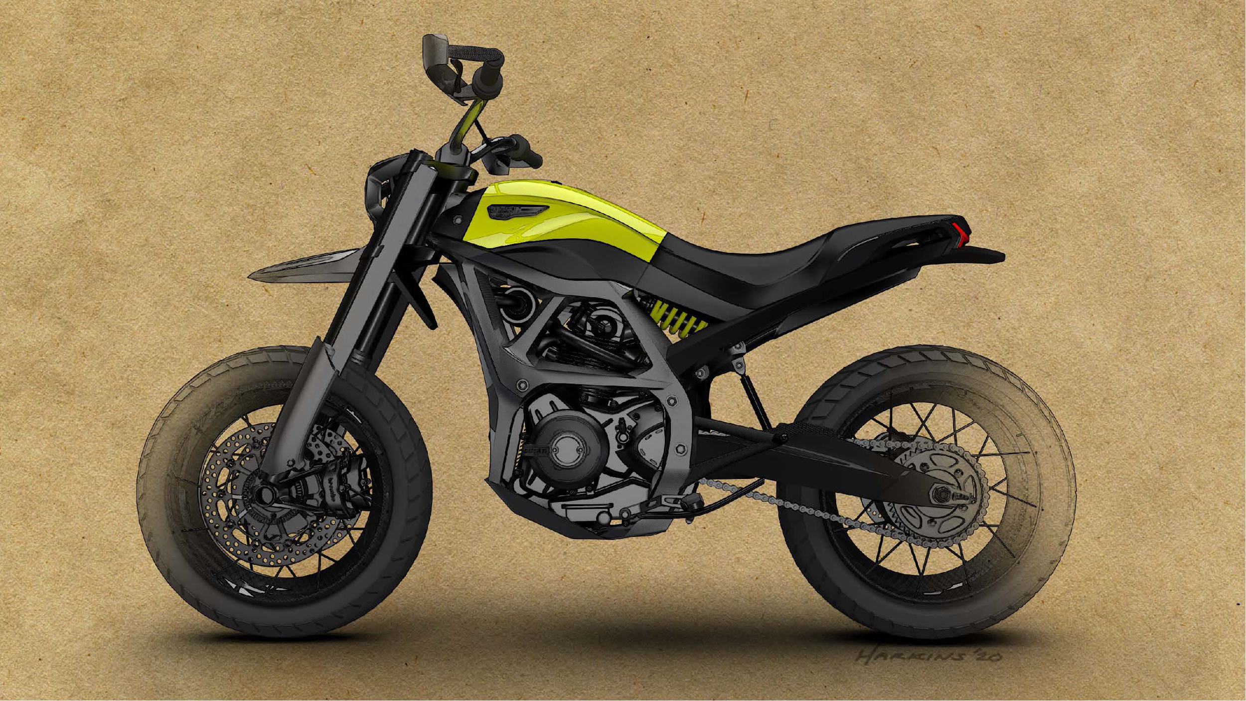 200511 Scrambler Ducati of the future - sketches by Peter Harkins (3)