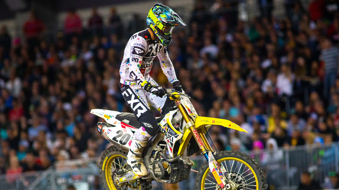 200522 Broc Tickle (#20) is ready to compete the final rounds of Supercross on his Suzuki RM-Z450 (678)
