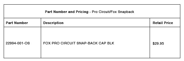 200528 Pro Circuit:Fox Snapback Part-Number-Pricing-R-1