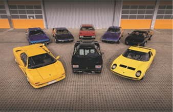 A snapshot of the Lamborghini lineup offered from the Petitjean Collection (Credit – Diana Varga © 2020 Courtesy of RM Sotheby's)