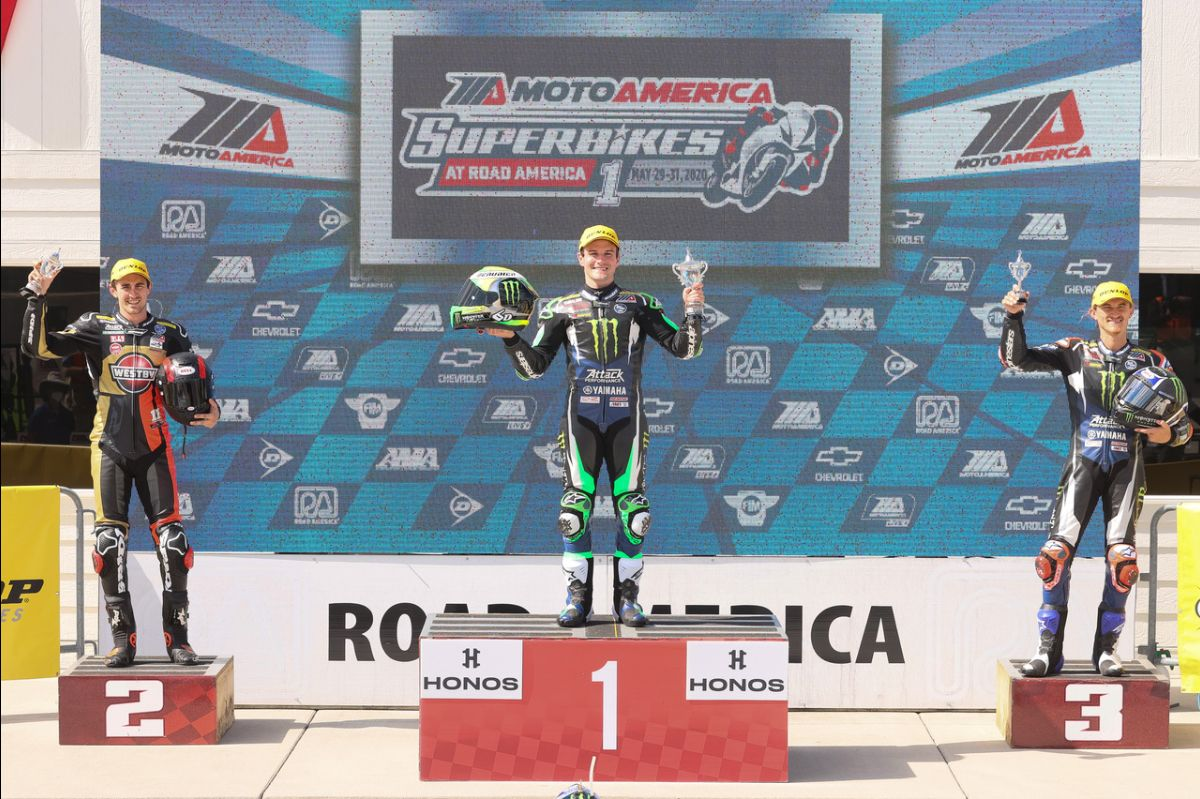 200530 Cameron Beaubier (center) celebrates his HONOS Superbike win with Mathew Scholtz (left) and Jake Gagne (right) on the podium at Road America
