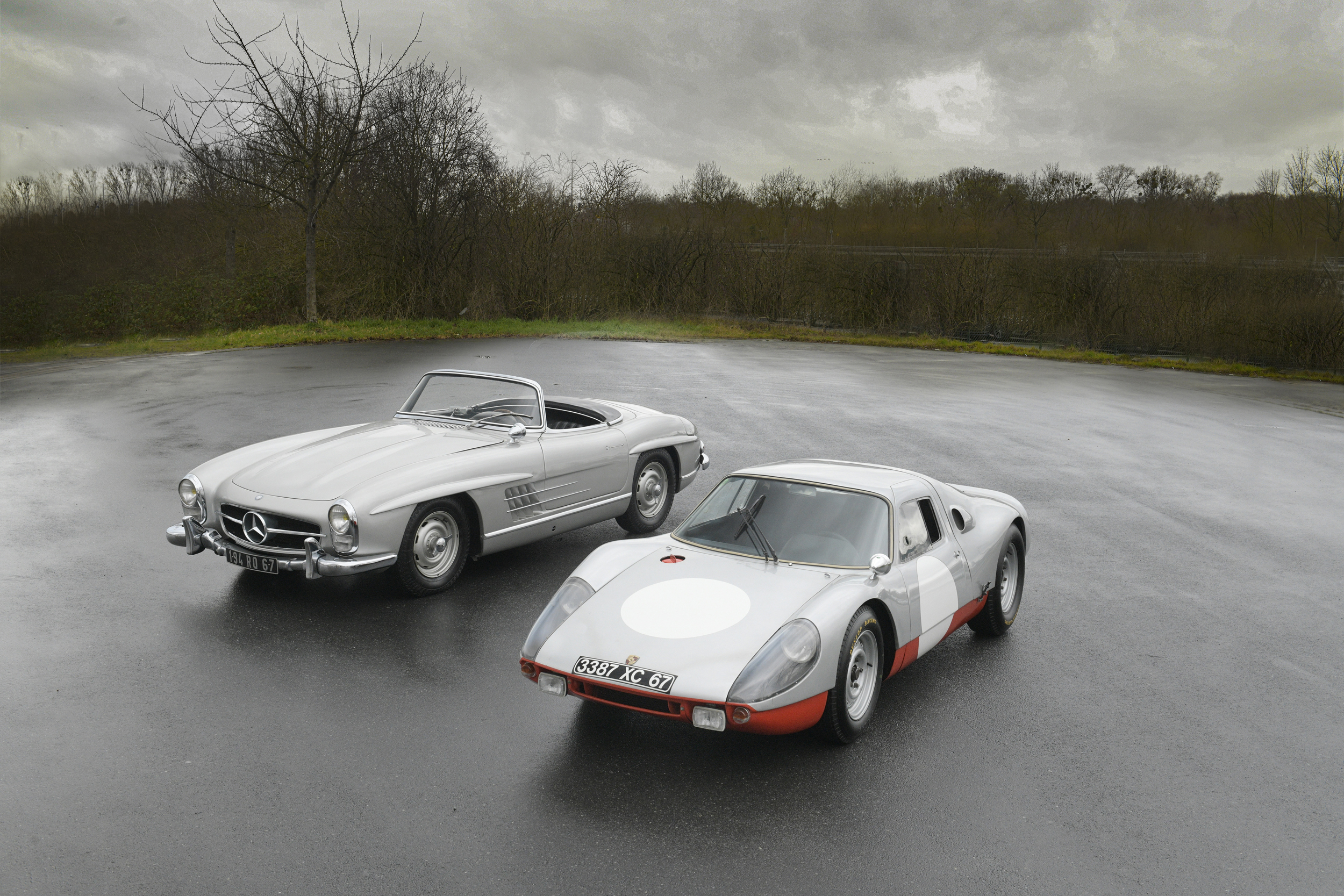 The 1958 Mercedes-Benz 300 SL Roadster and 1964 Porsche 904 GTS offered from the Petitjean Collection (Credit – © 2020 Courtesy of RM Sotheby's)