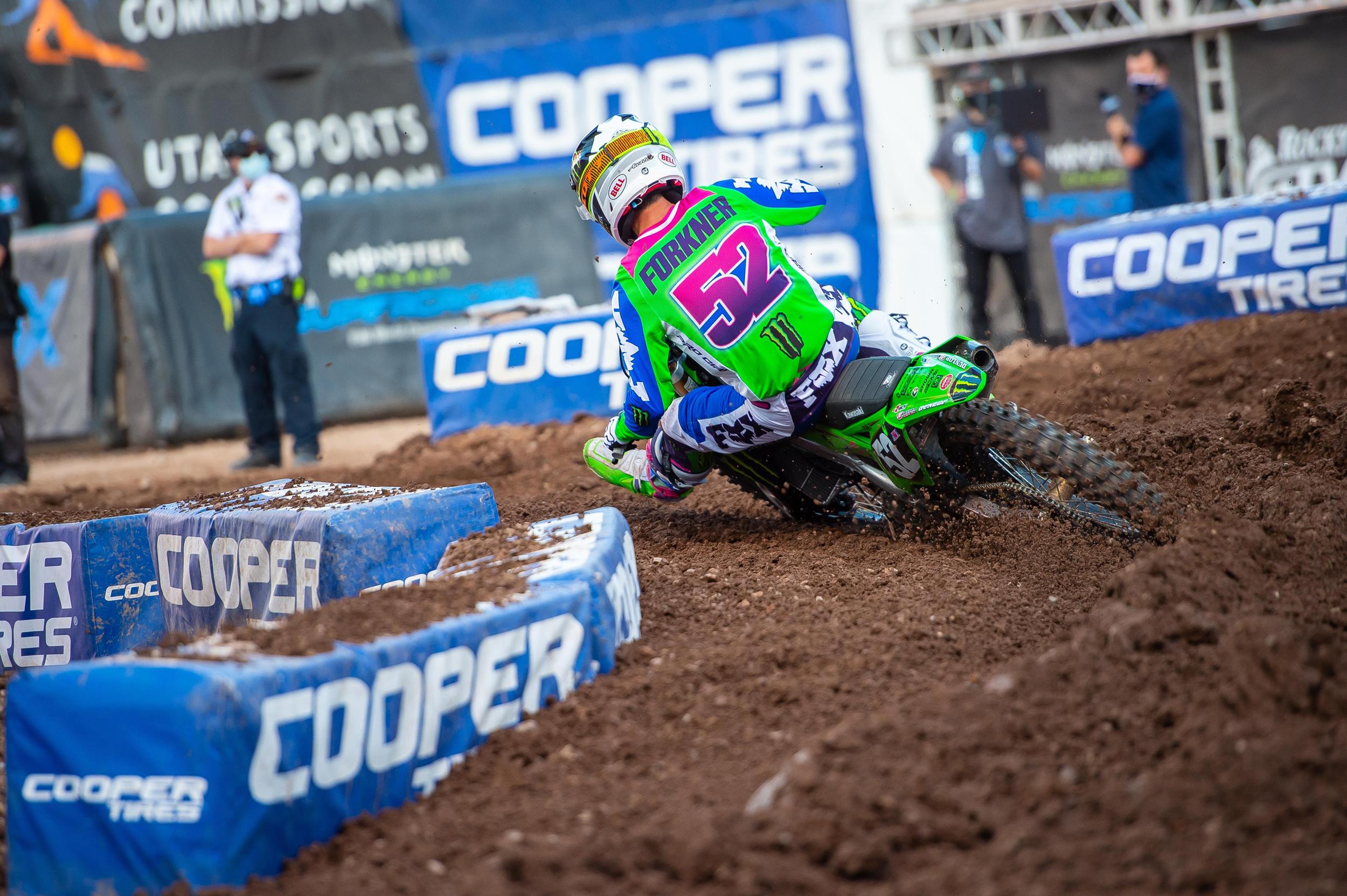 Austin Forkner battled fiercely for every spot on the slick Utah track