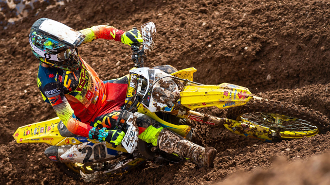 Broc Tickle (#20) powers through the rutted Salt Lake City track on his Suzuki RM-Z450 - SX round 13 (678)