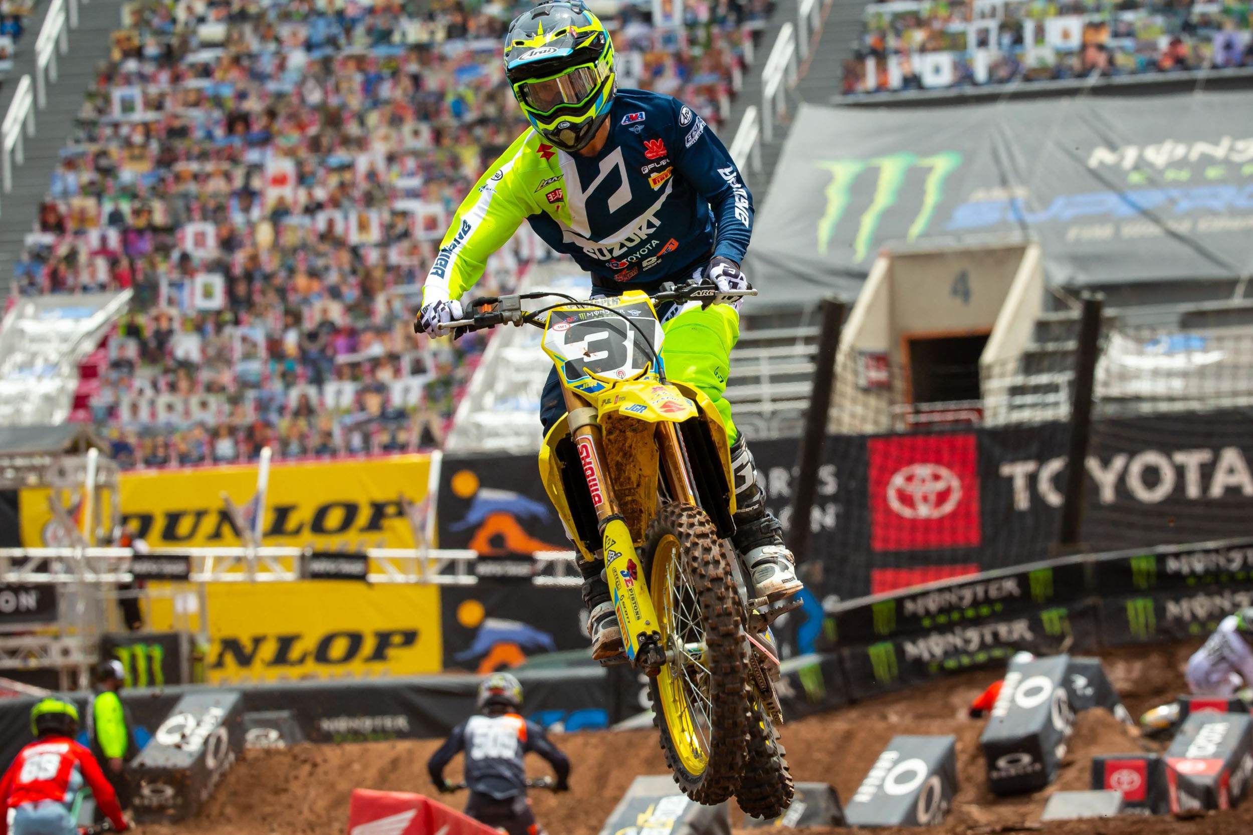 Freddie Noren (#31) crosses the checkered flag with a season-best finish on his RM-Z450