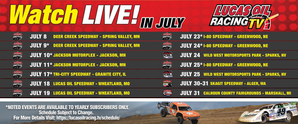 200701 LIVE Race Coverage From a Variety of Different Disciplines Featured on LORTV July Broadcast Schedule
